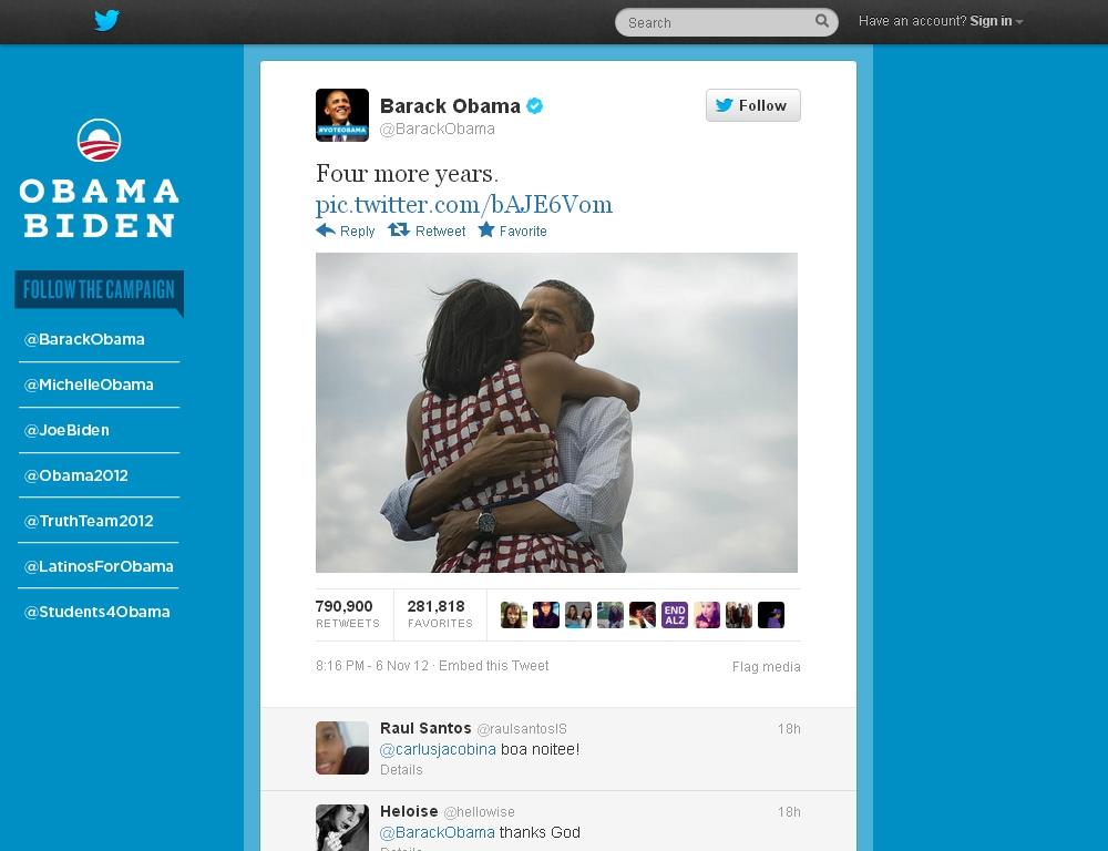 ציוץ הניצחון של אובמה – 2008,2012
