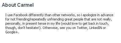 אודות חשבון אישי בפייסבוק