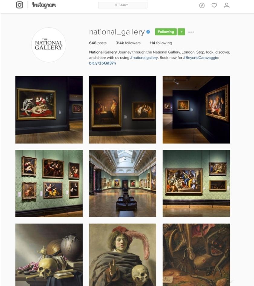 הגלריה הלאומית הבריטית באינסטגרם, צילום מסך