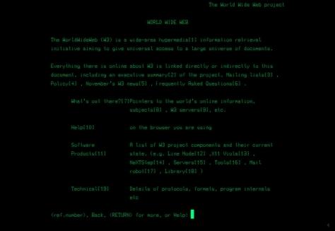 First www website, line mode, screenshot