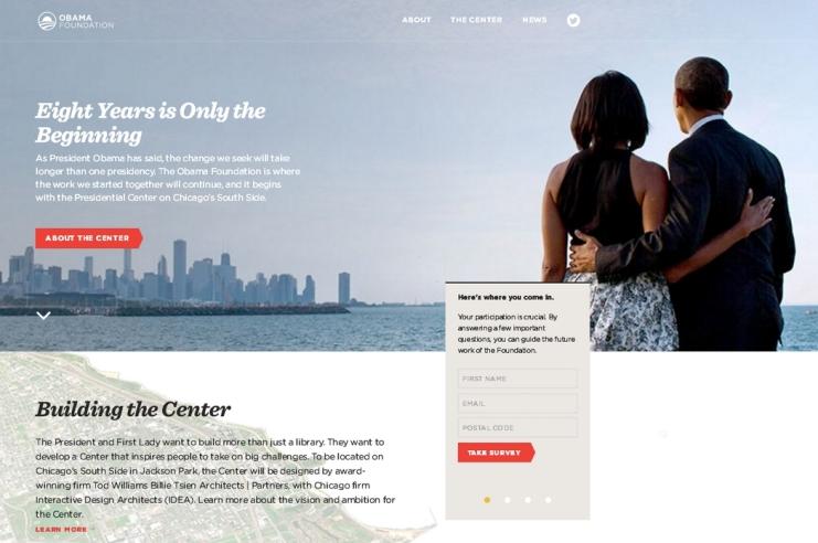 אתר האינטרנט של קרן אובמה, צילום מסך של דף הבית
