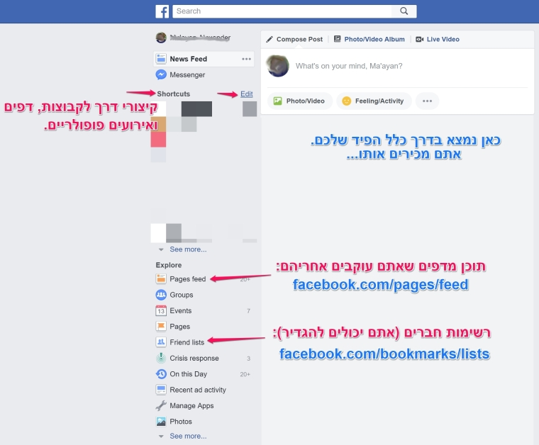 דברים שאפשר למצוא בעמודת הצד בפייסבוק
